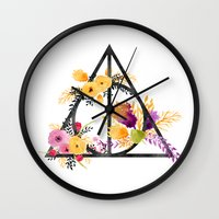 deathly hallows Wall Clocks featuring Life and Deathly Hallows by Snazzy Sisters