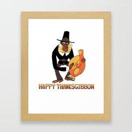Happy ThanksGibbon Framed Art Print