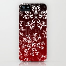 Symbols in Snowflakes on Holly Berry iPhone Case