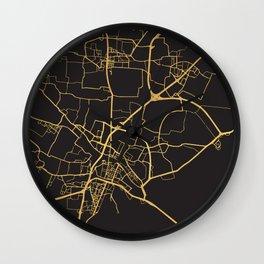 VENICE ITALY GOLD ON BLACK CITY MAP Wall Clock