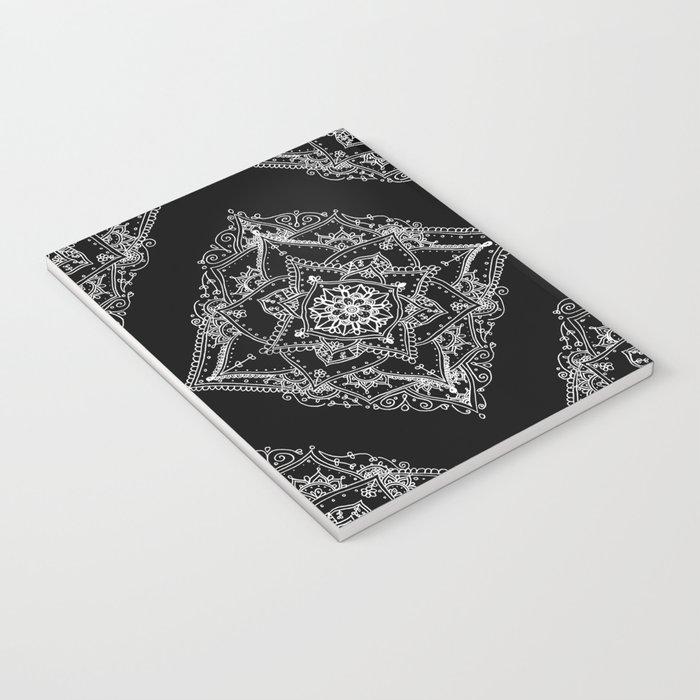 Mandala Doodle Pattern in Black & White Notebook