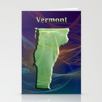 vermont Stationery Cards featuring Vermont Map by Roger Wedegis