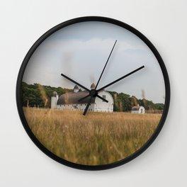 White Barn and Blue Sky Wall Clock