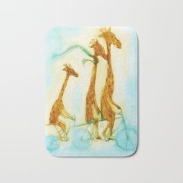 Family of giraffes rides a bicycle-tandem Bath Mat