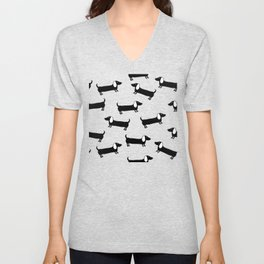 Cute dachshunds in black and white Unisex V-Neck