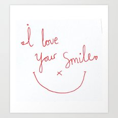 I love your smile typographic Art Print