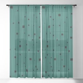 Squares and Vertical Stripes - Green and Black - Hanging Sheer Curtain