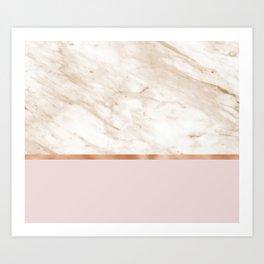 Caramel marble on rose gold blush Art Print