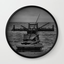 Jetty of Birds Monochrome  Wall Clock