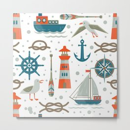 nautical elements pattern background Metal Print
