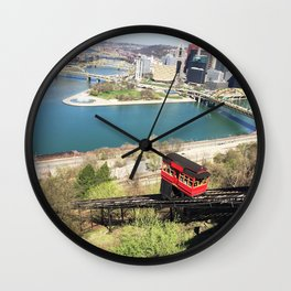 Pittsburgh Incline & Cityscape Wall Clock