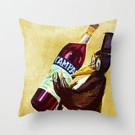 Vintage Gold Bitter Campari 'Penguin' Aperitif Lithograph Advertisement Poster Throw Pillow