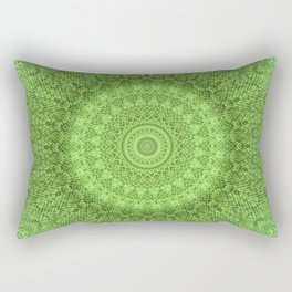Sunflower Feather Bohemian Leaf Pattern \\ Aesthetic Vintage \\ Green Teal Aqua Color Scheme Rectangular Pillow