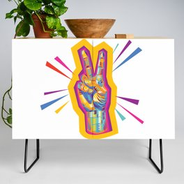 Raise a Peace Sign (Yellow Glow)  Credenza