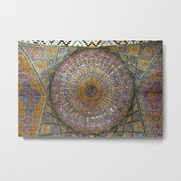 Persian Art Vakil Mosque Ceiling Decorative Tile Mosaic, Shiraz Metal Print
