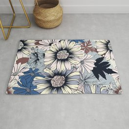 Cute floral pattern in vintage stylewith daisy flowers Rug