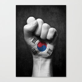 South Korean Flag on a Raised Clenched Fist Canvas Print