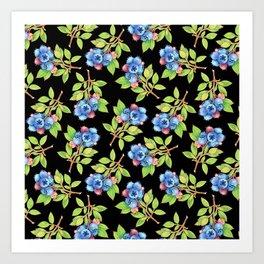 Wild Blueberry Sprigs Art Print