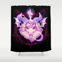 baphomet Shower Curtains featuring Baphomet (WHITE) by Gunkiss