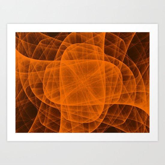 Eternal Rounded Cross in Orange Brown Art Print