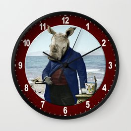 Mr. Rhino's Day at the Beach Wall Clock