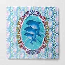 Dolphin Family Metal Print