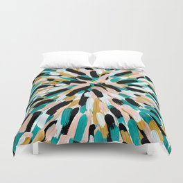 Teal, Pink, and Gold Paint Burst Duvet Cover
