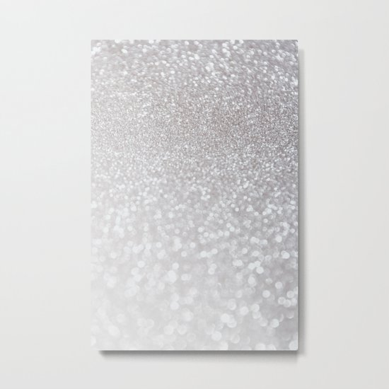 Silver ice - glitter effect- Luxury design Metal Print