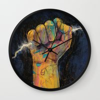 lightning Wall Clocks featuring Lightning by Michael Creese