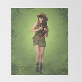 """Attention Campers"" - The Playful Pinup - Jungle Adventure Pin-up Girl by Maxwell H. Johnson Throw Blanket"