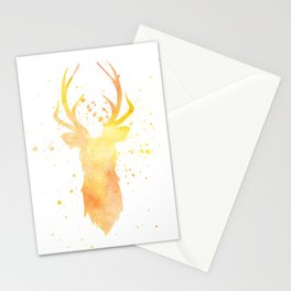 Watercolor deer head with antlers, Yellow Stationery Cards