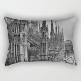 Milan Cathedral, Lombardy, Milan, Italay black and white portrait photograph Rectangular Pillow