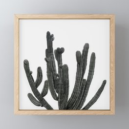 Black and White Cactus Framed Mini Art Print