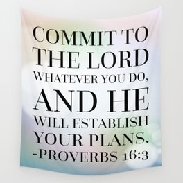 Proverbs 16:3 Bible Quote Wall Tapestry