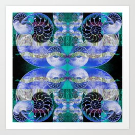 Brilliant Blue and Green Nautilus Fantasy Abstract Art Print
