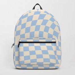 Check II - Baby Blue Twist — Checkerboard Print Backpack