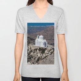 Lonely church in Greek mountains Unisex V-Neck