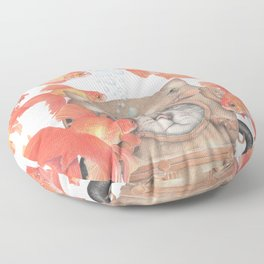 Scuba Cat Among the Fishes Floor Pillow