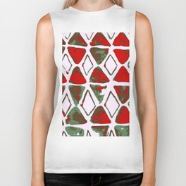 Triangle art red and jungle green Biker Tank