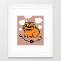 my mad fat diary Framed Art Prints featuring FAT CAT by Alberto Corradi