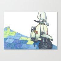 vespa Canvas Prints featuring vespa by Miyuki Sakurai