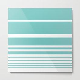 Scandi Pastel Mint Stripes Metal Print