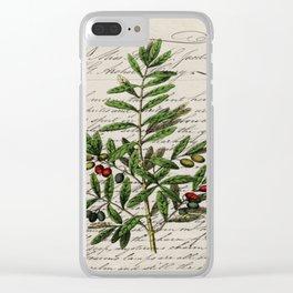 Chic paris scripts kitchen artwork french botanical leaf olive Clear iPhone Case