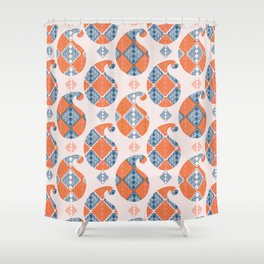Hand drawn paisley motif illustration Shower Curtain