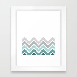 WHITE/ TEAL CHEVRON FADE Framed Art Print