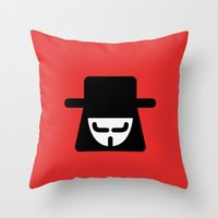vendetta Throw Pillows featuring v vendetta by atipo