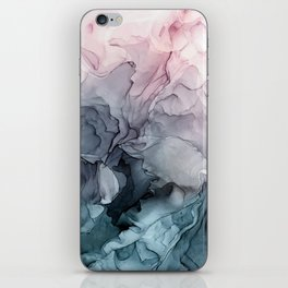 Blush and Payne's Grey Flowing Abstract Painting iPhone Skin