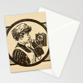 Lady at phone. Stationery Cards