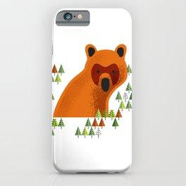 Big Bjørn, Big Nowegian Bear and pine tree wood pattern iPhone Case