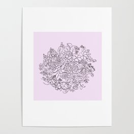 arrangement of flowers and leaves ( https://society6.com/totalflora/collection ) Poster